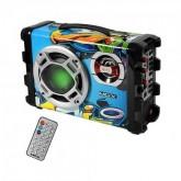 CAIXA DE SOM MOX MO-S12 PORTATIL MALETA BLUETOOTH / USB - AZUL