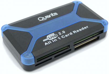 Leitor de Memoria Quanta AD-60 USB All in 1 Card Reader Azul
