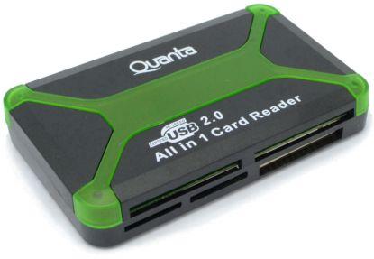 Leitor de Memoria Quanta AD-60 USB All in 1 Card Reader Verde