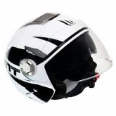 Capacete MT Helmets City Eleven Advance A1 - Aberto - Branco e Preto - XL