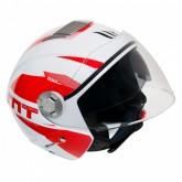 Capacete MT Helmets City Eleven Advance A5 - Aberto - Branco e Vermelho - XL