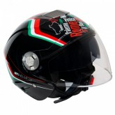 Capacete MT Helmets City Eleven Italy Gloss - Aberto - Preto - L