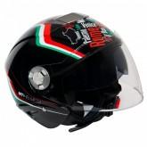 Capacete MT Helmets City Eleven Italy Gloss - Aberto - Preto - M