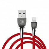 Cabo Lightning para iPhone Baseus Mageweave Zinc Alloy Cable 1M 2A - Vermelho