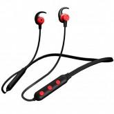 Fone de Ouvido Sem Fio Quanta QTFB10 V5 130mAh com Bluetooth/Microfone - Preto e Vermelho